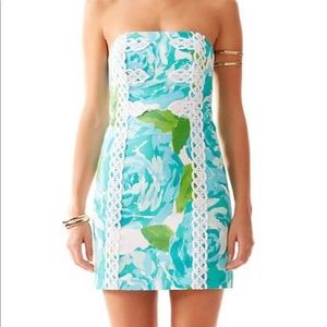 Lilly Pulitzer Strapless Blue and Green Dress